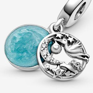 Pandora Silver Stork&Twinkling Stars Dangle Charm